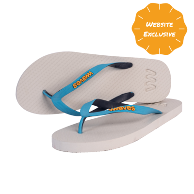 100% Natural Rubber Flip Flop – White Tri Tone